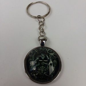 Baphomet Glass Cabochon Tibet Silver Keychain